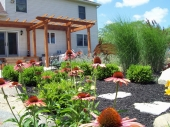 Custom backyard garden with pergola and paver walkway dayton ohio
