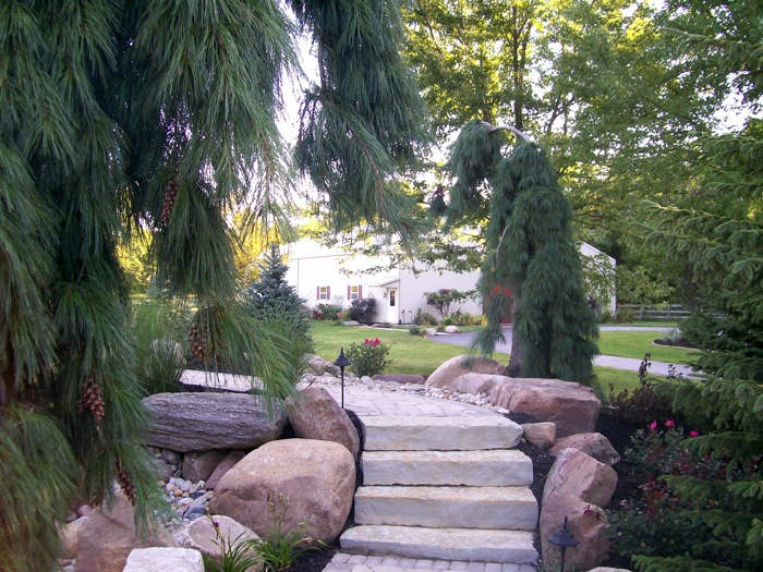 Custom paver walk with with stone stairs in garden in Dayton Ohio ... - Residential Portfolio, Whispering Creek Landscaping The Premier