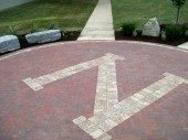 Custom Commercial Hardscape with logo inlay Dayton Ohio