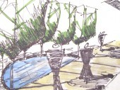 Landscape design with garden paver patio Dayton Ohio