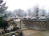 Dayton Ohio Custom Landscaping with paver walk and retaining wall