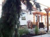 Backyard landscaping with Pergola and paver patio Dayton Ohio