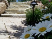 Custom Landscaping with hardscape stone stairs dayton ohio