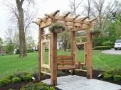 Dayton ohio Custom Pergola with Hardscape and Landscaping